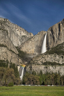 Moonbow And Stars At Yosemite Falls, Yosemite National Park, California, Usa - AURF05361
