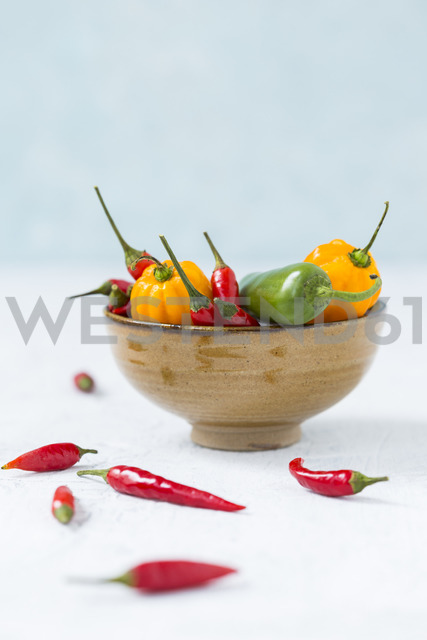 Bowl of various chili pods - JUNF01250