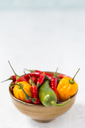 Bowl of various chili pods - JUNF01253
