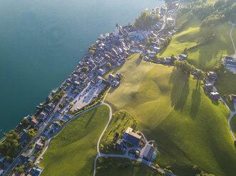 Austria, Salzkammergut, Sankt Wolfgang, Aerial view of Lake Wolfgangsee - JUNF01279