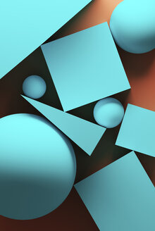 Orange background with turquoise geometric shapes - DRBF00115