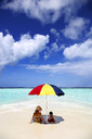 Woman and daugther on sandbank, Kaafu Atoll, Maldives - AURF05707
