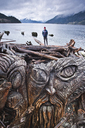 Wood carving near the water in Squamish, British Columbia. - AURF05773