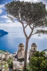 Italy, Campania, Amalfi Coast, Ravello, view of Amalfi Coast with Santa Maria delle Grazie church facing Mediterranean sea - FLMF00058