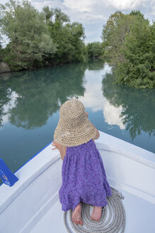Rear view of girl on a boat trip - PSIF00095