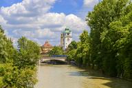 Germany, Bavaria, Munich, Isar river, Mueller's public bath and Muffatwerk, Ludwig Bridge - LBF02111