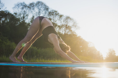 Young woman doing SUP yoga at golden hour, North Kingstown, Rhode Island, USA - AURF06116