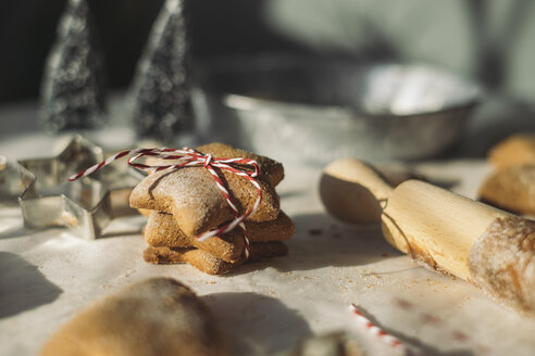 Stack of star-shaped Christmas Cookies - MOMF00490