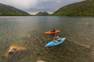Couple kayaking on Jordan Pond in Acadia National Park, Maine, USA - AURF06167
