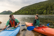 Couple kayaking on Jordan Pond in Acadia National Park, Maine, USA - AURF06170