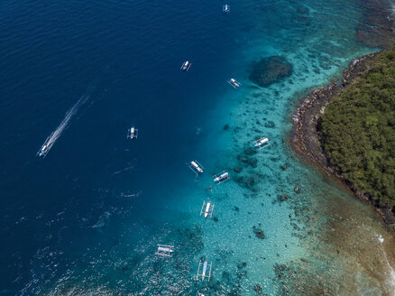 Indonesia, Bali, Aerial view of Blue Lagoon beach - KNTF01824