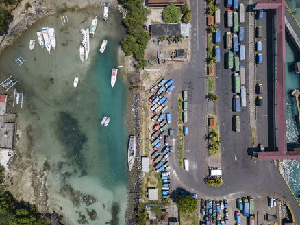 Indonesia, Bali, Aerial view of Padangbai, port from above - KNTF01850