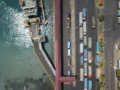 Indonesia, Bali, Aerial view of Padangbai, port from above - KNTF01853