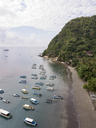 Indonesia, Bali, Aerial view of banca boats and beach - KNTF01874