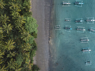 Indonesia, Bali, Aerial view of banca boats and beach - KNTF01877