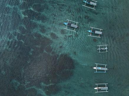 Indonesia, Bali, Aerial view of banca boats - KNTF01880
