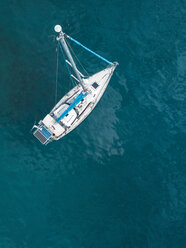 Indonesia, Bali, Aerial view of sailing boat - KNTF01883