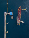 Indonesia, Bali, Aerial view of tanker ship - KNTF01898