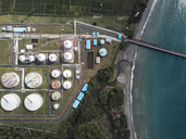 Indonesia, Bali, Aerial view of oil refinery - KNTF01901