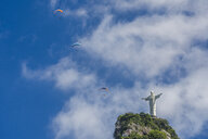 Paragliders flying above Christ the Redeemer statue on top of Corcovado Mountain, Rio de Janeiro, Brazil - AURF06636