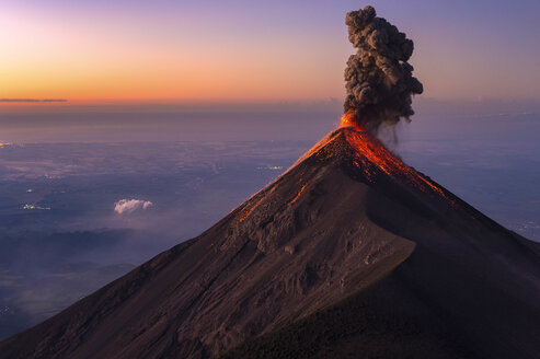 Fuego Volcano erupting at sunrise, Guatemala - AURF07011
