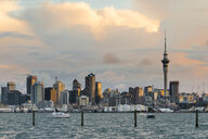 New Zealand, North Island, Auckland, Auckland skyline in the evening - MKFF00389
