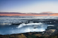 New Zealand, South Island, Otago, Aerial view of Lake Wanaka at sunrise - MKFF00428