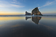 New Zealand, South Island, Puponga, Wharariki Beach, Archway Island in the evening - MKFF00434