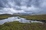 Great Britain, Scotland, Scottish Highlands, Glencoe, Rannoch Moor, Loch Ba and rain clouds - RUEF01994