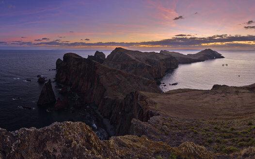 Portugal, Madeira, Sunset at the coast near Ponta de Sao Lourenco at sunrise - RUEF02015