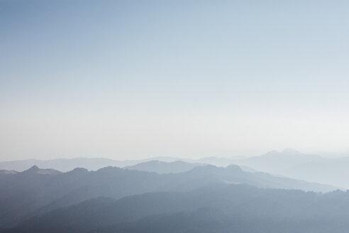 Switzerland, Grosser Mythen, sunrise above alpine landscape - LHPF00059