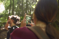 Spain, Canary Islands, La Palma, woman taking a cell phone picture of her boyfriend in a forest - PACF00157