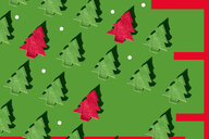 Rows of green and red Christmas trees and white dots on green ground, 3D Rendering - ERRF00033