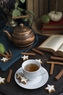Autumnal still life with cup of tea and cinnamon stars - JUNF01392