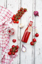 Homemade tomato ketchup and ingredients - LVF07451