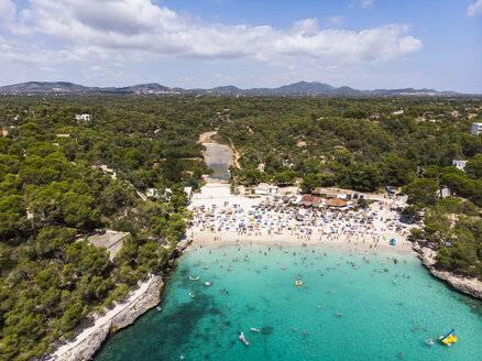 spain, Balearic Islands, Mallorca, Aerial view of Cala Mondrago and Playa Mondrago, Mandrago Nature Park - AMF06003