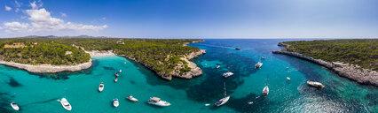 spain, Balearic Islands, Mallorca, Aerial view of Cala Mondrago and Playa Mondrago, Mandrago Nature Park - AMF06006