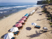 Indonesia, Bali, Aerial view of Balangan beach, sunloungers and beach umbrellas - KNTF02052