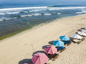 Indonesia, Bali, Aerial view of Balangan beach, sunloungers and beach umbrellas - KNTF02055