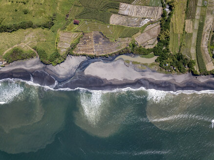 Indonesia, Bali, Aerial view of Yeh Gangga beach from above - KNTF02091