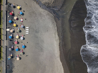 Indonesia, Bali, Aerial view of Yeh Gangga beach from above - KNTF02103