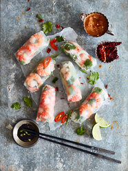 Prawn rolls on rice paper and pair of chopsticks - CUF44801