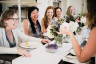 Women enjoying friendship and meal in yoga retreat - CUF45029