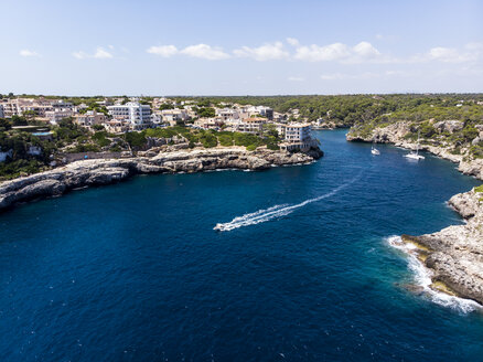 Spain, Balearic Islands, Mallorca, Aerial view of bay Cala Figuera - AMF06012