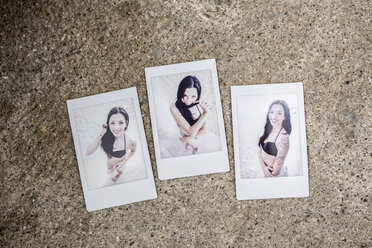 Three instant photos with portraits of young woman on sandy beach - GIOF04646