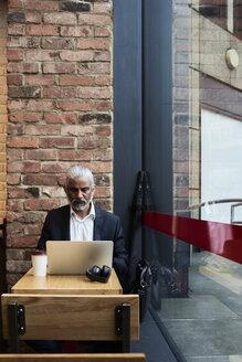 Senior businessman working on laptop in a coffee shop - IGGF00636