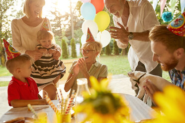 Happy extended family on a garden birthday party - ZEDF01665