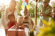 Happy extended family on a garden birthday party - ZEDF01671