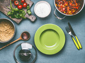 High angle view of a fresh meal served on a table - INGF00353