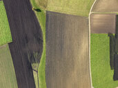 Aerial view green and brown agricultural fields, Donaueschingen, Baden-Wuerttemberg, Germany - FSIF03240